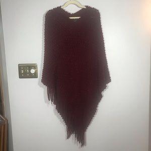 MAXSPORT Burgundy Textured Poncho, One Size